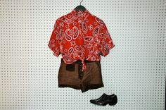 90s / red bandana print / short sleeve by dryvintageandthrift, $40.00