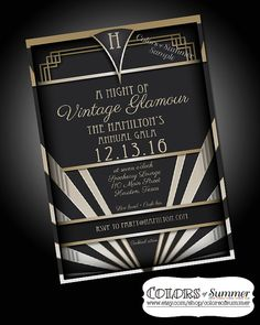 Vintage Glamour Invitation Speakeasy 1920 by colorsofsummer