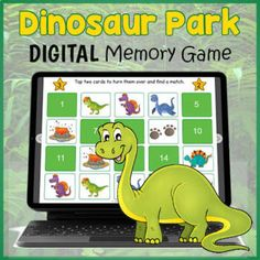 DIGITAL Dinosaur Themed Game - Memory Matching Cards for Distance Learning Virtual Memory, Dinosaur Park, Fun Classroom Activities, Memory Games For Kids, Educational Games For Kids, Matching Cards, Dinosaurs, Card Games, Distance