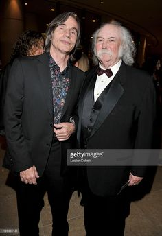 Singers Jackson Browne (L) and David Crosby arrive at the 2011 Pre-GRAMMY Gala and Salute To Industry Icons Honoring David Geffen at The Beverly Hilton Hotel on February 2011 in Beverly Hills, California. The Beverly, Beverly Hilton, David Geffen, Jackson Browne, Stars Then And Now, Classic Rock, Music Artists, Rock And Roll, Beautiful Men