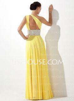 Império Um ombro Vestidos longo Tecido de seda Vestidos de baile com Pregueado Bordado (018020583)