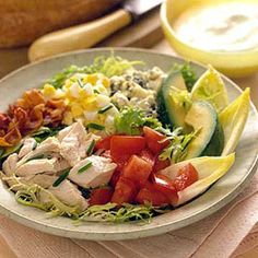 Cobb-Style Salad (w/Chicken) --Made famous at the Brown Derby restaurant in Hollywood, this chicken and avocado salad continues to win accolades. Healthy Salads, Healthy Eating, Healthy Recipes, Healthy Food, I Love Food, Good Food, Yummy Food, Great Recipes, Favorite Recipes