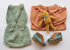 Soor Ploom Sparrow Top, Misha and Puff Sugar Maple Sunsuit, Polka Dot Club Floppy Bear, and Nathalie Verlinden Billy Boots. My Baby Girl, Baby Love, Couple Outfits, Kids Outfits, Misha And Puff, Dream Baby, Stylish Kids, Kids Wear, Baby Knitting
