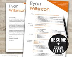 Resume Cover Letter Template - Creative Resume Template - CV Template Instant Download