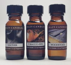3 Bottles Set, Leather, Tobacco (Pipe), Woodstock Fl Oz Each Premium Grade Scented Fragrance Oils By Crazy Candles >>> Special product just for you. Candle Jars, Candles, Patchouli Oil, Woodstock, Fragrance Oil, Aromatherapy, Essential Oils, Thing 1, Bottles