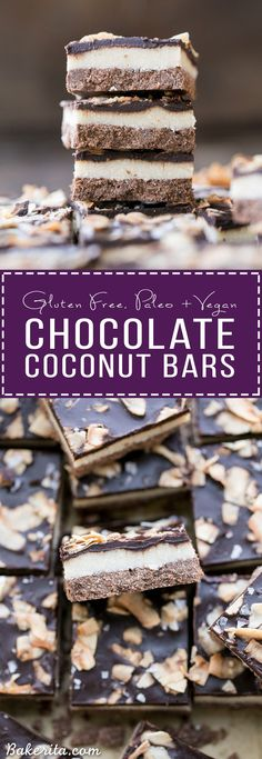 These Chocolate Coconut Bars have three irresistible layers - a chocolate shortbread crust, a melt-in-your-mouth coconut butter filling, and a chocolate topping with toasted coconut! Any coconut lover is going to love these gluten-free, Paleo + vegan dess Best Dessert Recipes, Paleo Dessert, Dessert Bars, Healthy Desserts, Easy Desserts, Delicious Desserts, Paleo Treats, Sweets Recipes, Yummy Treats
