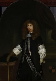 Gerard ter Borch (II) | Jacob de Graeff (1642-90). In the Uniform of an Officer, Gerard ter Borch (II), 1670 - 1681 | Portret van Jacob de Graeff, in officiersuniform. Kniestuk, staande tussen een zuil en een tafel waarop zijn hoed ligt. Zijn rechterhand steunend op een wandelstok.