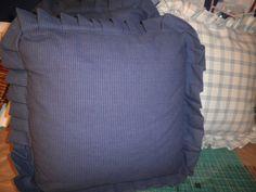 Navy blue ruffled pillow cushion
