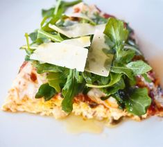 Wild Mushroom Pizza Frittata with Arugula and Shaved Parmesan
