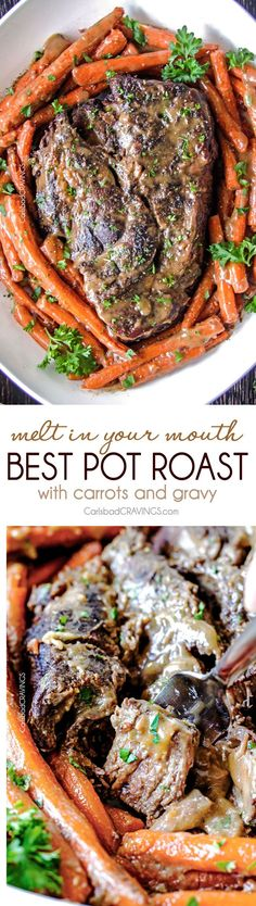 Not as much work—-the BEST Melt in Your Mouth Pot Roast and carrots with mouthwatering gravy is the best pot roast I have ever had! Juicy, fall apart tender, seasoned to PERFECTION with hardly any effort! Amazing for company, easy enough for everyday. Crock Pot Recipes, Fall Recipes, Slow Cooker Recipes, Cooking Recipes, Healthy Recipes, Roast Beef Recipes, Cooking Bacon, Meatloaf Recipes, Slow Cooking