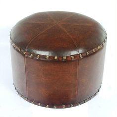 Howard Elliott 1343 Round Patchwork Ottoman Cool