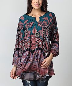 Another great find on #zulily! Emerald Paisley Notch Neck Tunic - Plus #zulilyfinds