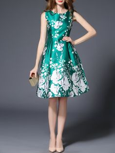 Green A-line Floral-print Sleeveless Casual Midi Dress