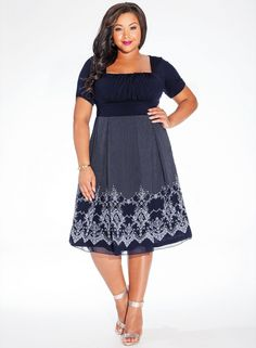 """The plus size ladylike Aline dress is having a big moment in fashion right nowand so are JazzAgeinspired silhouettes. The Hayleigh Dress fuses the best of both worlds with its squareneck draped bodice and Aline lightweight georgette skirt. Pair with pearls, a small tophandle flap bag and peep toe pumps. Shoulder to Hem Length: 4245"""" Fit Note: Use bust measurement to determine your size  The dress has a look of a top and a skirt Square neck, draped bodice fits smaller to larger busts Setin…"""