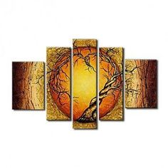 Extra Large Wall Art Set, Abstract Art Painting, 5 Piece Canvas Art, Moon and Tree of Life Painting-Paintingforhome Tree Of Life Painting, Hand Painting Art, Oil Painting Abstract, Abstract Art, Painting Canvas, Large Painting, Woman Painting, Abstract Landscape, 5 Panel Wall Art