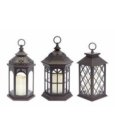 Another great find on #zulily! Brown LED Lantern Set by Melrose #zulilyfinds