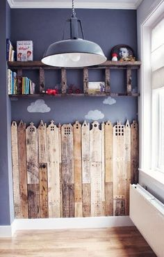 Love the idea of city scape wainscoting. Dont have anywhere to put it. ...Studio?