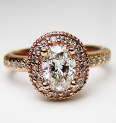 Rose Gold Oval Diamond Engagement Ring Double Halo