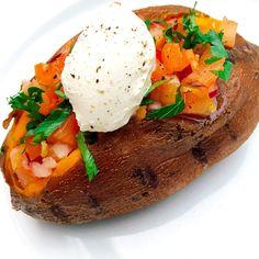 Recept: Zoete aardappel met een salsa topping