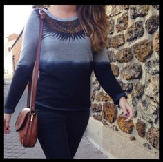 """Berenice: Caroline is wearing our sweater """"festif1"""" from this winter collection. A Very nice automne street look ;) ! shop at www.berenice.net #berenice #style #femme #mode #streetstyle #fashion"""