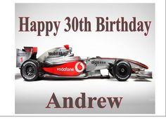 065f31d7b6 Personalised mclaren mercedes formula 1 car birthday cake topper a4 icing  sheet