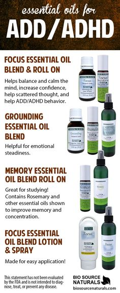 Essential Oils can help soothe symptoms associated with ADD and ADHD such as concentration, memory, emotions, scattered thought.  #aromatherapy