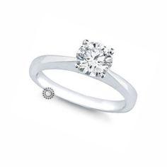 Ακριβό μονόπετρο δαχτυλίδι με διαμάντι Brilliant από λευκόχρυσο Κ18 σε  διαχρονικό και λιτό δέσιμο που αναδεικνύει 3b8661d9319