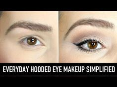 Learn how to apply eyeshadow, eyeliner, mascara and brow makeup for hooded eyes. Everyday, natural, hooded eye makeup simplified for beginners using drugstore products. makeup augen hochzeit ideas tips makeup Eyeshadow For Hooded Eyes, How To Apply Eyeshadow, Eyeshadow Looks, Matte Eyeshadow, Applying Eyeshadow, Make Up Hooded Eyes, Eyeliner For Downturned Eyes, Makeup For Hooded Eyelids, Eyebrows
