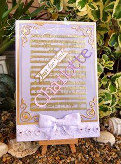 Cards for Charlotte ~ Music on Vellum, Victorine Originals stamp