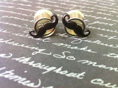 7/16 Stainless Steel Black Moustache Resin Plugs by PlugsByKat, $18.00