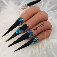 Top 20 Creative Acrylic Nails For 2019 – DailyOneTwo – stilleto nails, You can collect images you discovered organize them, add your own ideas to your collections and share with other people. Almond Acrylic Nails, Summer Acrylic Nails, Best Acrylic Nails, Acrylic Nail Designs, Nail Art Designs, Glam Nails, Dope Nails, Matte Nails, Long Black Nails