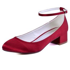 FC1613 Woman Wedding Shoes Burgundy Size 10 Closed Toe Block heel Ankle Strap Low Comfort Satin Bride Lady Bridal Evening Pumps
