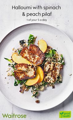 Halloumi with spinach & peach pilaf Vegetarian Recipes Dinner, Veggie Recipes, Lunch Recipes, Cooking Recipes, Healthy Recipes, Cooking Pork, Veggie Dishes, Food Dishes, Waitrose Food