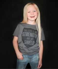 Charcoal Gray 'Strength and Shield' Tee - Toddler & Kids #zulily #zulilyfinds