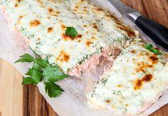 Baked Salmon with Yogurt Recipe Main Dishes with salmon, plain yogurt, spinach, lemon pepper seasoning, garlic cloves, chopped parsley, pepper, salt, mozzarella cheese
