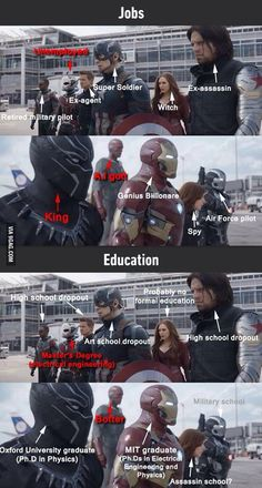 Captain America: Civil War. Jobs and education.