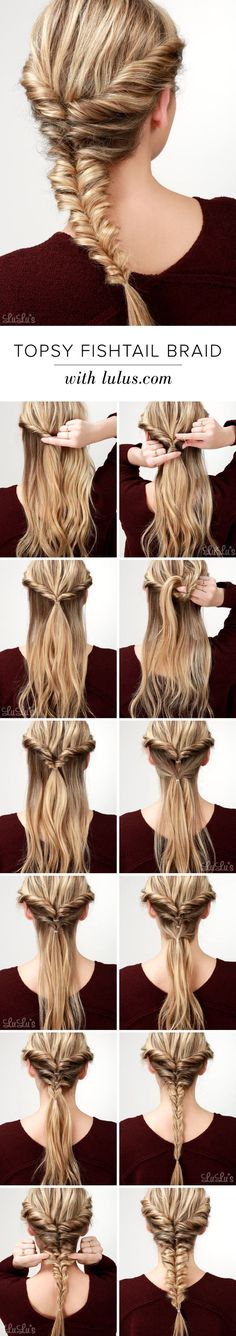LuLu*s How-To: Topsy Fishtail Braid Tutorial at LuLus.com! Source