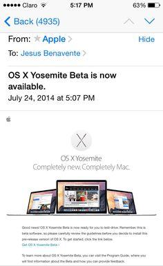Por fin, soy uno de los pocos que podrán usar #OSXYosemiteBeta GRATIS!!!