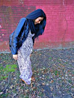 Surviving winter with the only way I know how - a maxi dress, booties and a leather bomber -