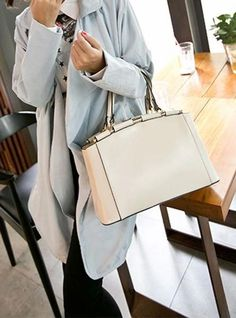 Beige Leather Satchel With Short Handle   Persunmall