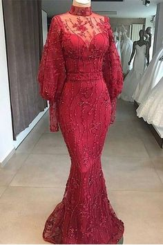 Modest Red Mermaid Dubai Abaya Kaftan Arabic Prom Evening Dress High Neck Long Sleeves With Beading Aso Ebi Lace Styles, African Lace Styles, Lace Dress Styles, Ankara Long Gown Styles, African Wear Dresses, Latest African Fashion Dresses, Nigerian Lace Dress, African Traditional Dresses, Prom Dresses With Sleeves