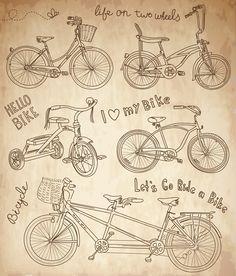 Bicicletas Antiguas - Dibujo
