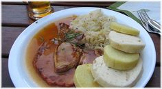 Vepro knedlo zelo (Roast pork with dumplings and Sauerkraut) Sunday dinner with the Kral Family. Oh yeahhhh...