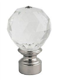 Crystal look finial for 1 1/8 inch metal  contemporary curtain rod