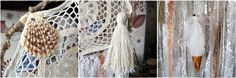 - Made to order! -   Gypsy wall hanging dreamcatcher with laces, crochet doily,  tassel, sea shell and hand painted gold feather. In off white and creamy colors.   Absolute... #etsy #boho #bohemian #bohodecor #gypsy