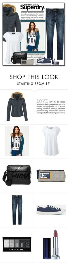 """""""Every Day with SuperDry"""" by polybaby ❤ liked on Polyvore featuring Superdry, Lands' End, J.Crew, L.A. Colors, MySuperdry and plus size clothing"""