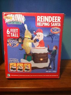 NEW IN BOX GEMMY 6 FT Santa Reindeer CHIMNEY Christmas Airblown Inflatable RARE