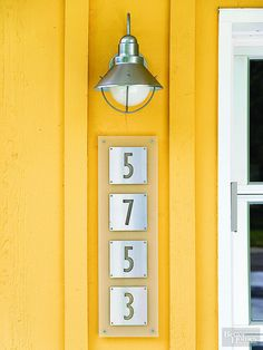 House numbers and entry lighting are an easy, effective way to boost appeal. Create a polished look by choosing fixtures with the same finish, but go for interesting pieces that express your style like these stencil-style numbers! http://www.bhg.com/home-improvement/exteriors/curb-appeal/creative-curb-appeal-ideas/?socsrc=bhgpin041315stencilnumbers&page=4