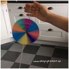 Tema: Barn förr och nu. Färgsnurra av papper. Pyssel barn