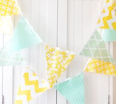 21 Fabric Flag Bunting 9 Feet Banner Yellow by vintagegreenlimited, $32.00